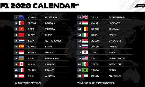 F1 ecco come cambia il calendario a causa del Covid-19