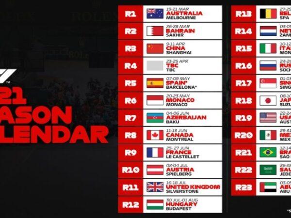 F1 – Calendario 2021 approvato